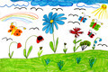 Children's drawing with rainbow butterflies and flowers - PhotoDune Item for Sale