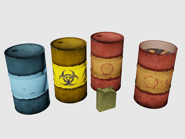 3DOcean Low poly Barrells and Canister 10330118
