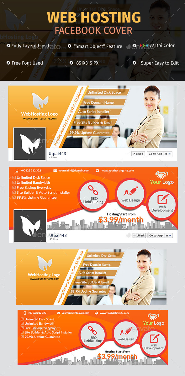 GraphicRiver Web Hosting Facebook Cover 10340815