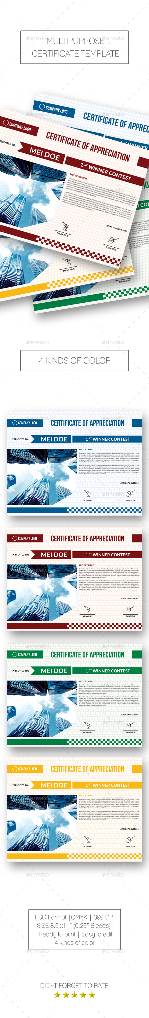 GraphicRiver Multipurpose Certificate 10341207