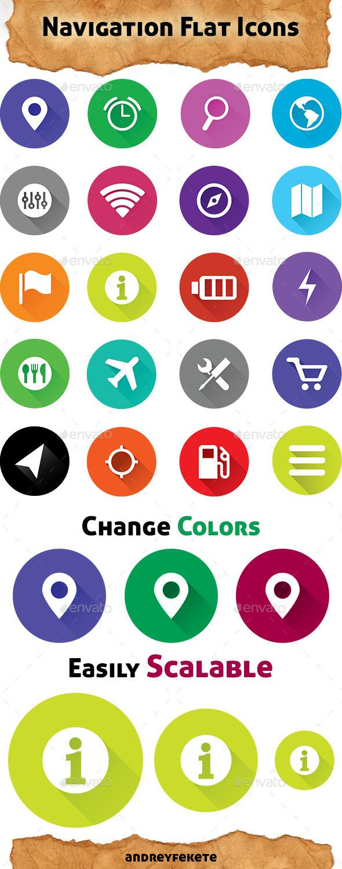 GraphicRiver Navigation Flat Icons 10341499