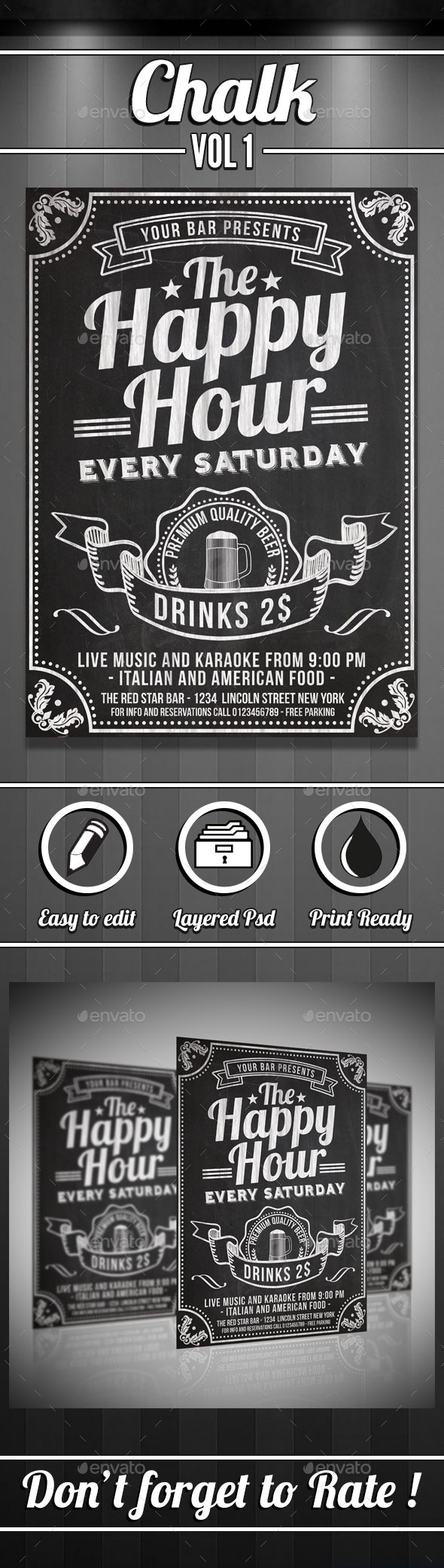 GraphicRiver Happy Hour Chalkboard Flyer 10341676