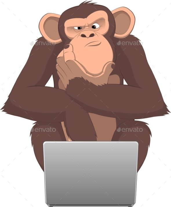 GraphicRiver Monkey and Computer 10342339