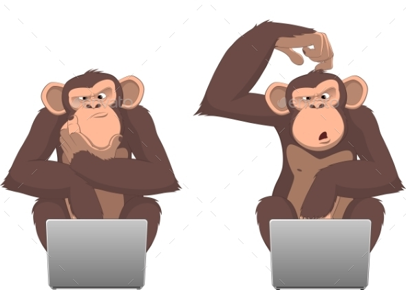 GraphicRiver Monkey and Computer 10342354