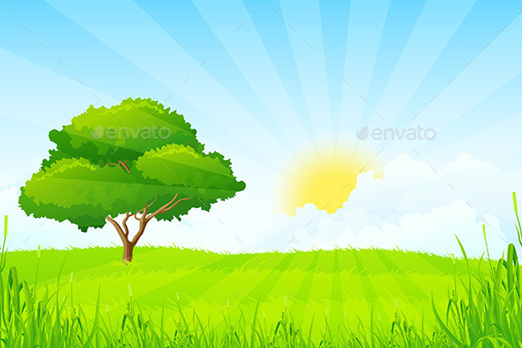 GraphicRiver Green Landscape with Tree 10342729
