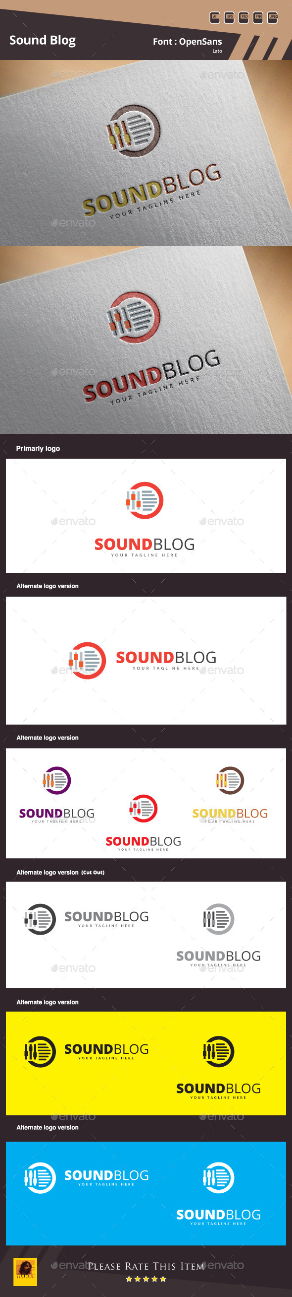 GraphicRiver Sound Blog Logo Template 10343125