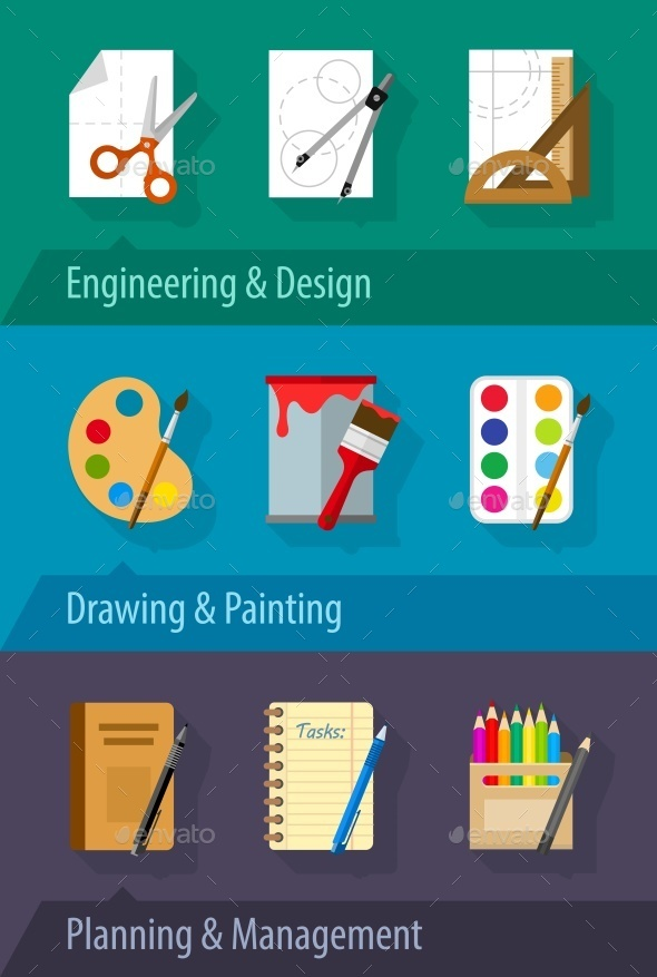 GraphicRiver Flat Icons Engineering Design Art Planning 10343874