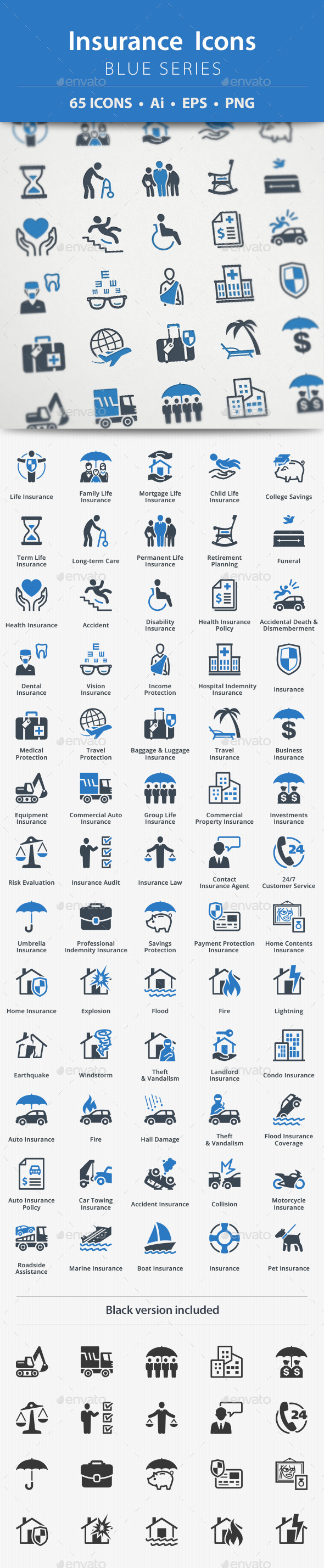 Insurance Icons Blue Series