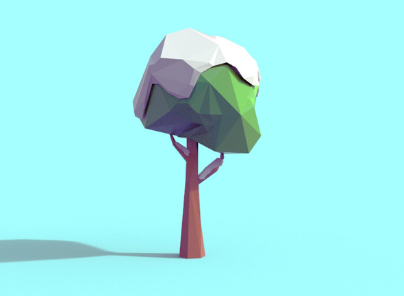 3DOcean Low Poly Snowy Tree 10344798