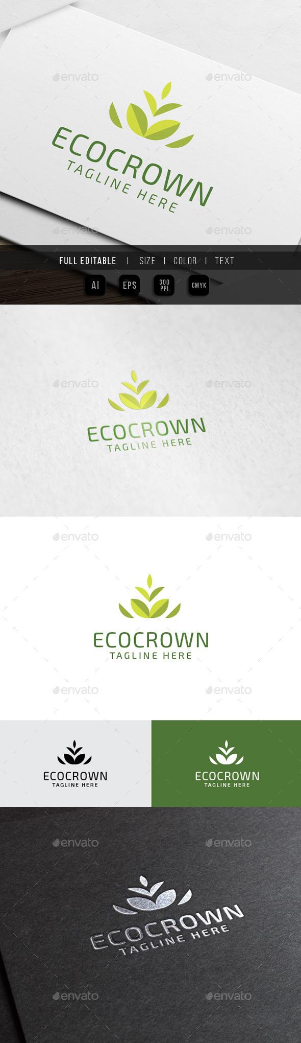 GraphicRiver Eco Crown Leaf Logo 10345570