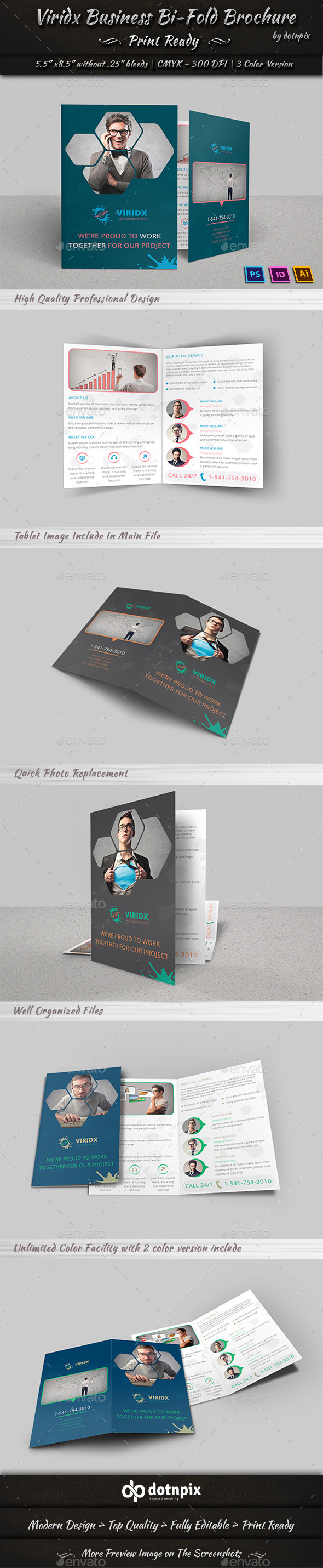 GraphicRiver Viridx Business Bi-Fold Brochure 10347208