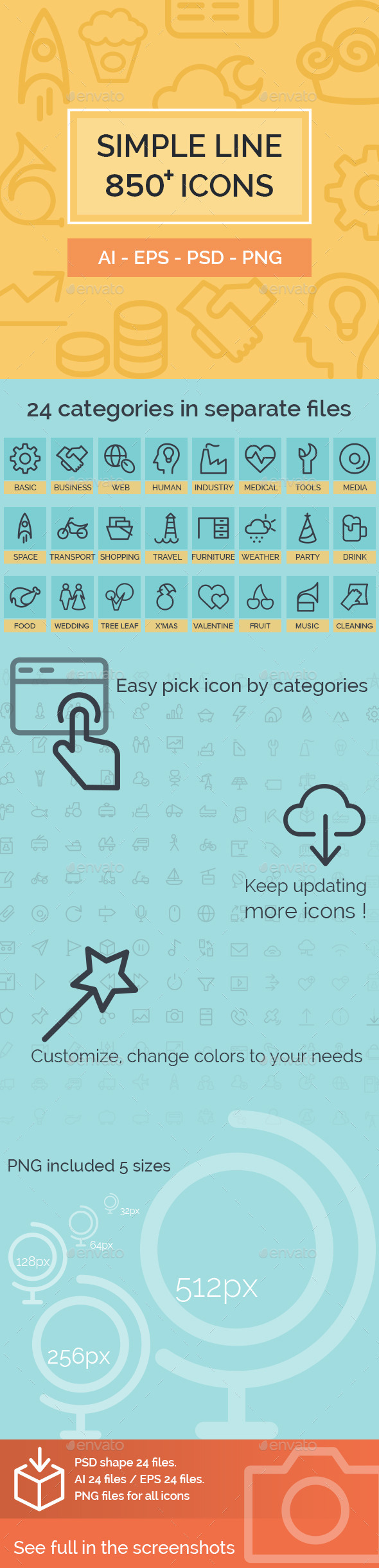 GraphicRiver 850 Simple Line Icons 10347599
