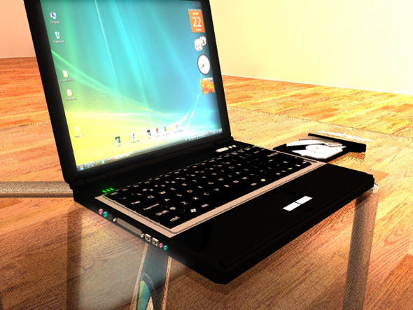 Laptop with mental ray setup - 3DOcean Item for Sale