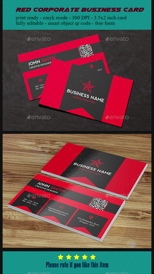 GraphicRiver Red Corporate Business Card 10347807