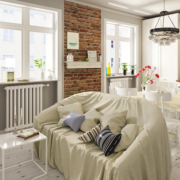 3DOcean Scandinavian Realistic Kitchen Scene 10348115