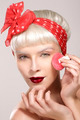 vintage beauty model applying powder on skin closeup - PhotoDune Item for Sale