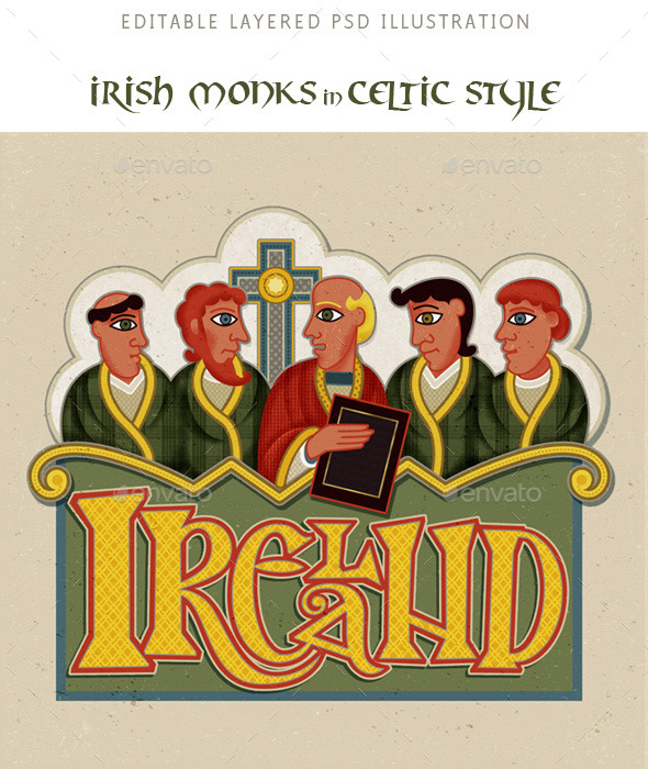 Ireland Monks in Modern Irish Celtic Art Style