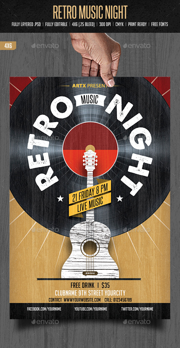 GraphicRiver Retro Music Night 10349455