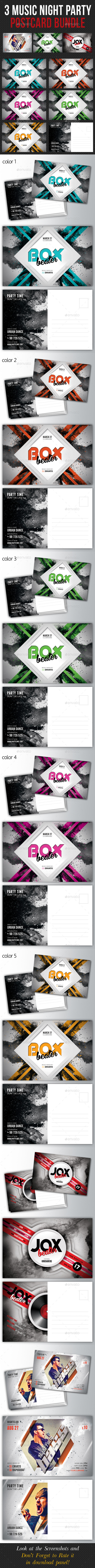 GraphicRiver 3 in 1 Music Night Party Postcard Bundle 10349763