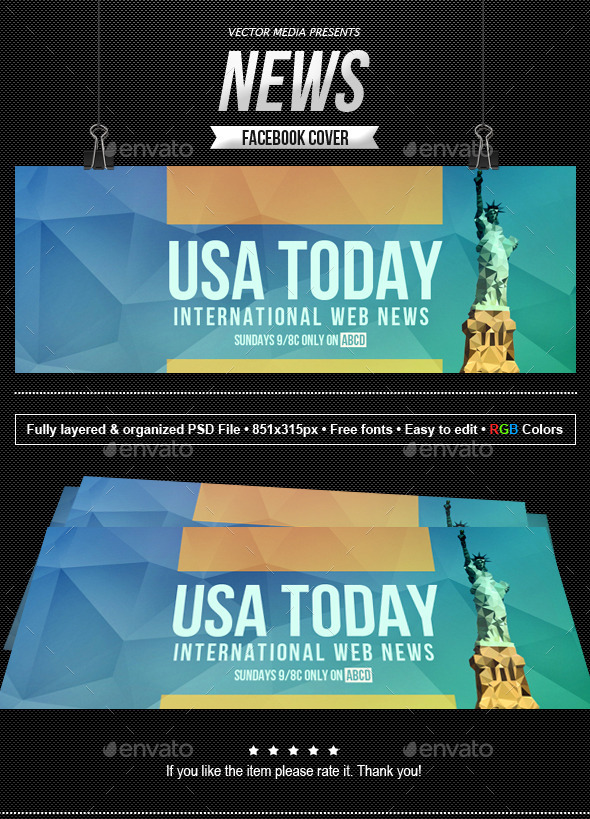 GraphicRiver News Facebook Cover 10349994