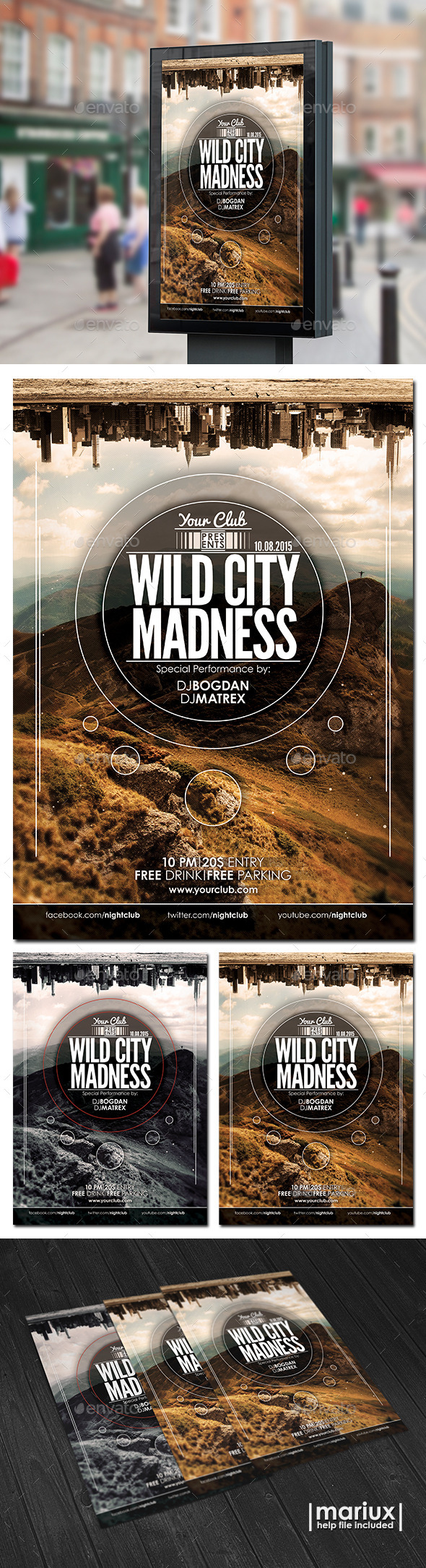 GraphicRiver Wild City Madness Flyer Poster 10350702