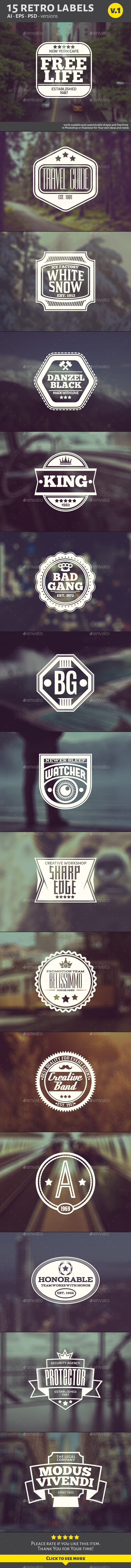 GraphicRiver 15 Retro Labels v.1 10350865