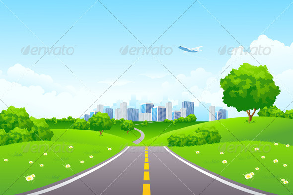 Landscape Green Hills with Tree and Cityscape