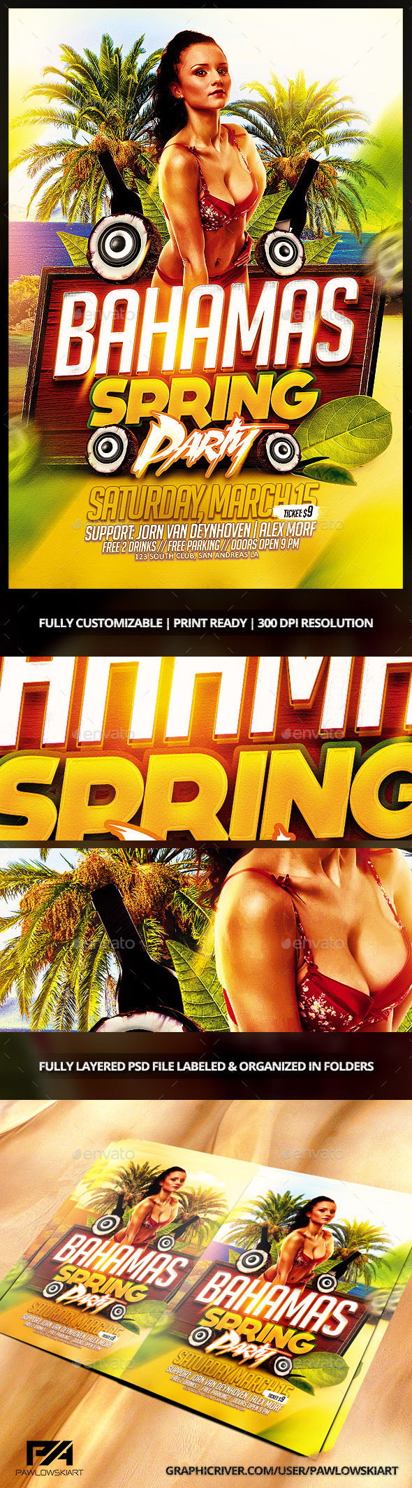 GraphicRiver Bahamas Spring Party Flyer Template 10351299