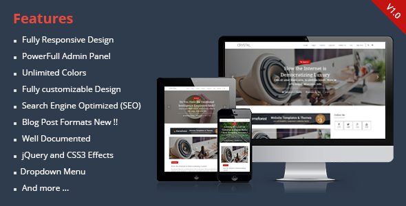 Crystal Responsive Personal Blogger Theme