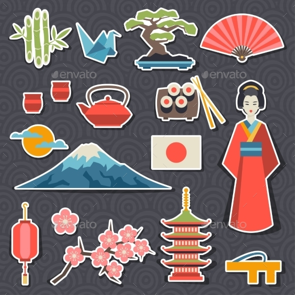 GraphicRiver Japan Icons and Symbols Set 10352755