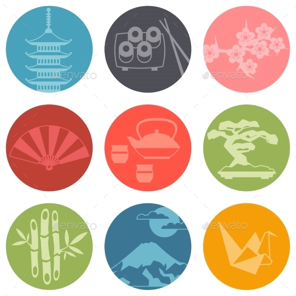 GraphicRiver Japan Icons and Symbols Set 10352781