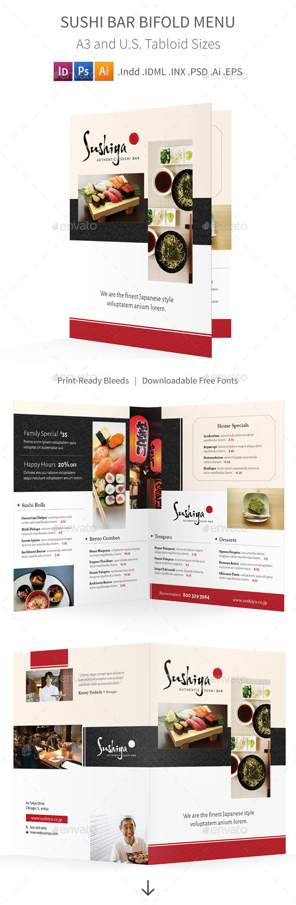 GraphicRiver Sushi Bar Bifold Halffold Menu 10353298