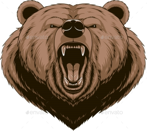GraphicRiver Angry Bear Head Mascot 10353623