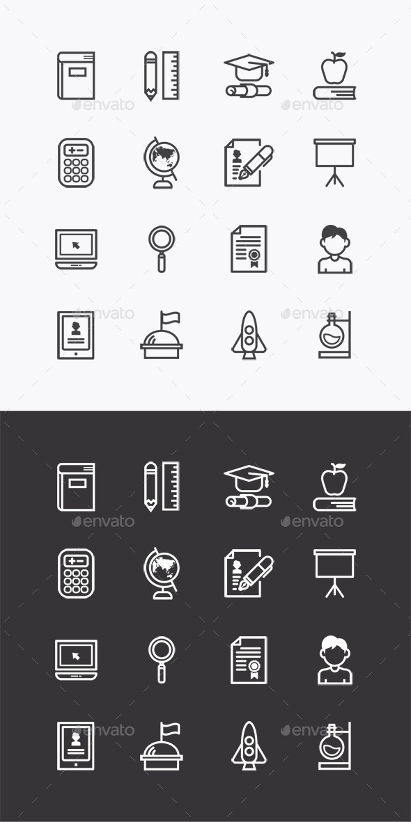 GraphicRiver Vector Flat Icons SetEducation School Tools 10353675