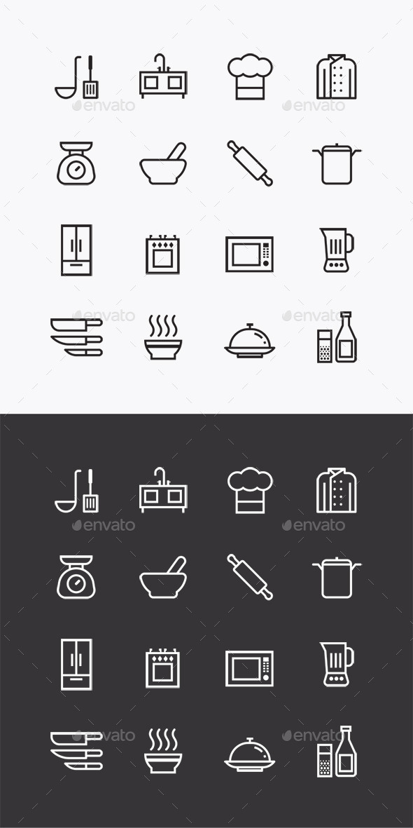 GraphicRiver Vector Flat Icons Set Kitchen Tools Outline 10353684