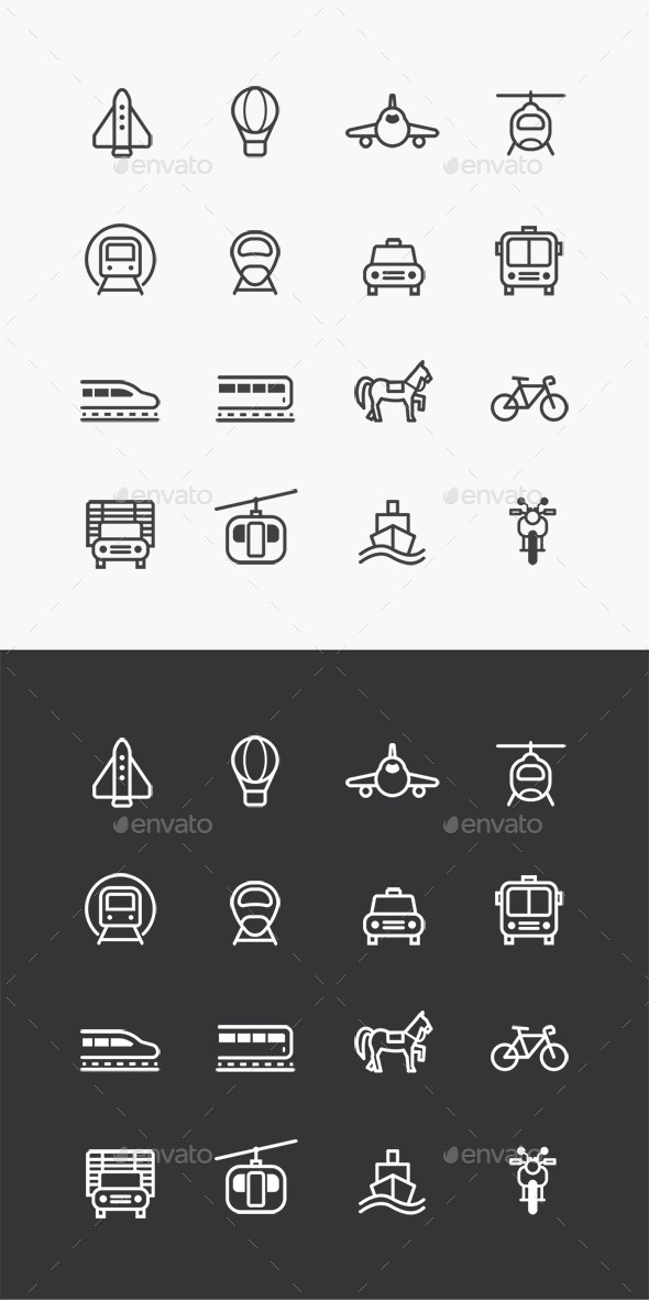 Vector Flat Icons Set Transportation Outline