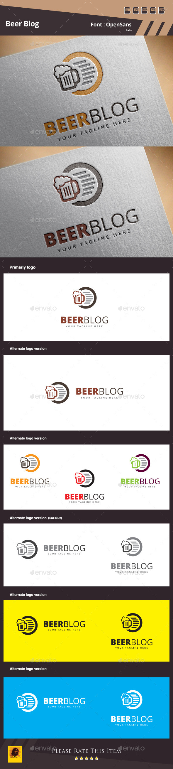 GraphicRiver Beer Blog Logo Template 10354086