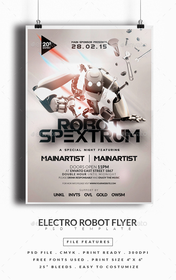 GraphicRiver Electro Robot Flyer 10354121
