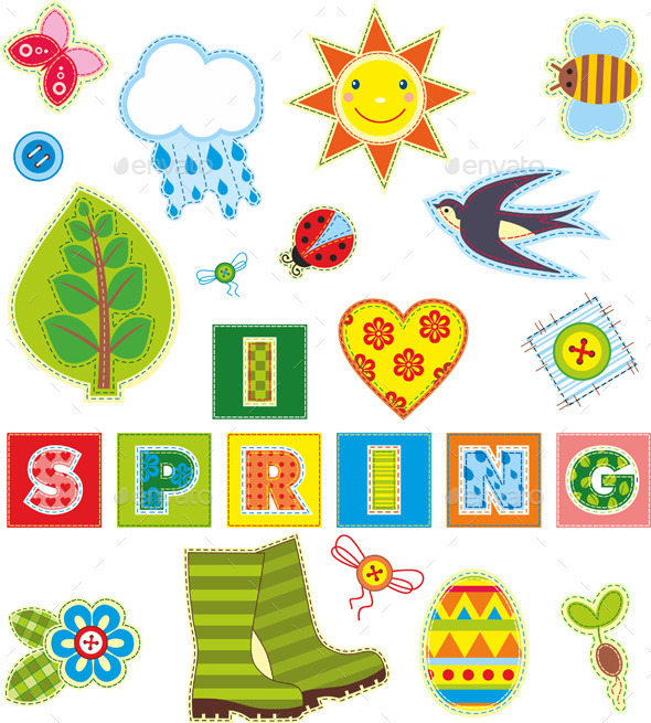 GraphicRiver Spring Textile Elements Set 10354799