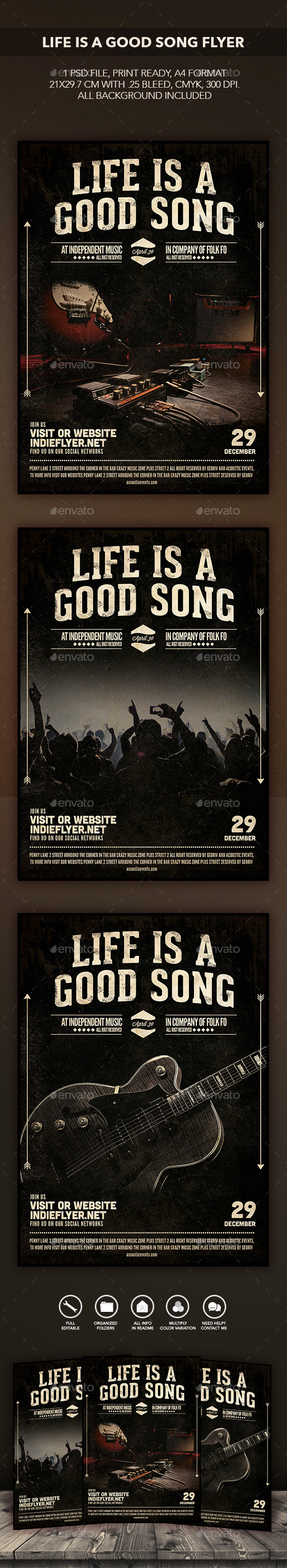 GraphicRiver Life is a good song flyer 10355333