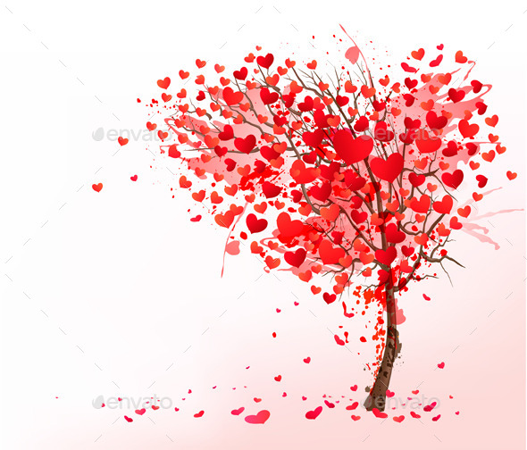 GraphicRiver Valentine Background with Heart Shaped Tree 10355932