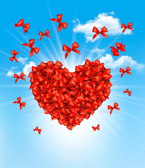 GraphicRiver Valentines Heart Made of Red Bows 10355938