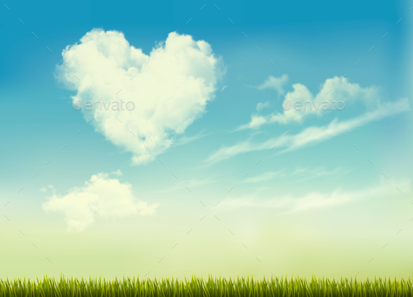 GraphicRiver Retro Nature Background with Blue Sky with Hearts 10355944