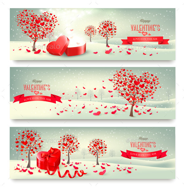 GraphicRiver Holiday Retro Banners Valentine Trees with Heart 10356041