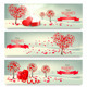Holiday Retro Banners Valentine Trees with Heart - GraphicRiver Item for Sale
