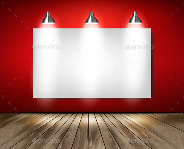 GraphicRiver Red Room with Spotlights and Wooden Floor 10356090