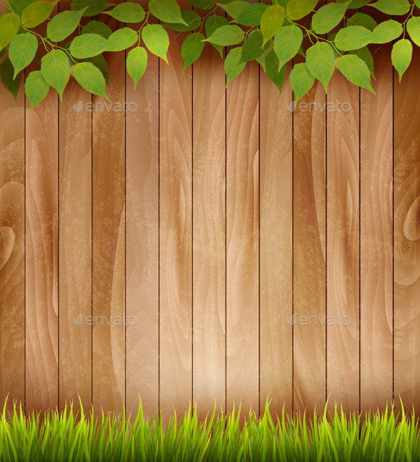 Natural Wooden Background with Leaves and Grass