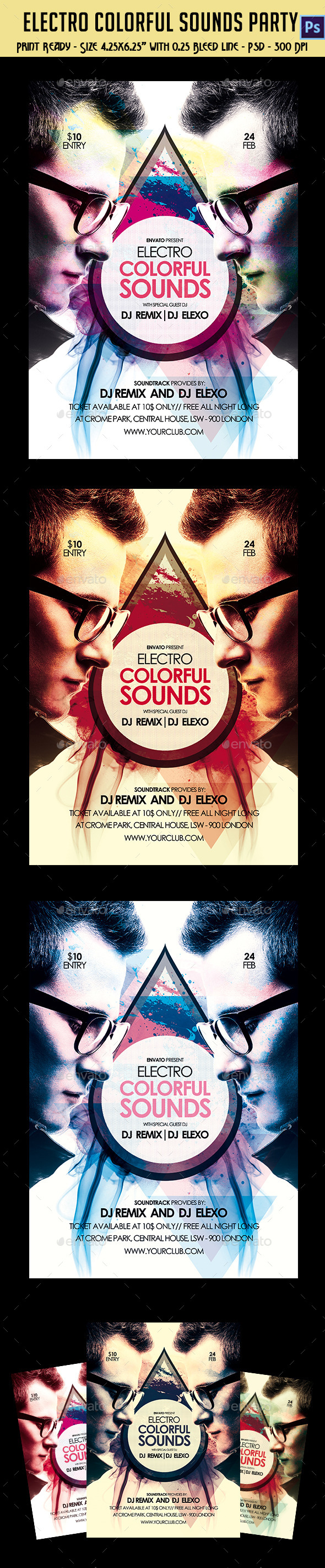 Electro Colorful Sounds Party Flyer