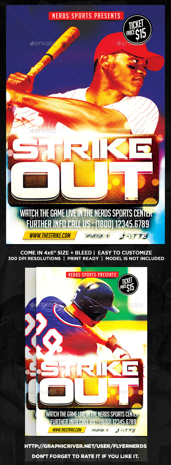 GraphicRiver Strike Out Baseball Sports Flyer 10356345