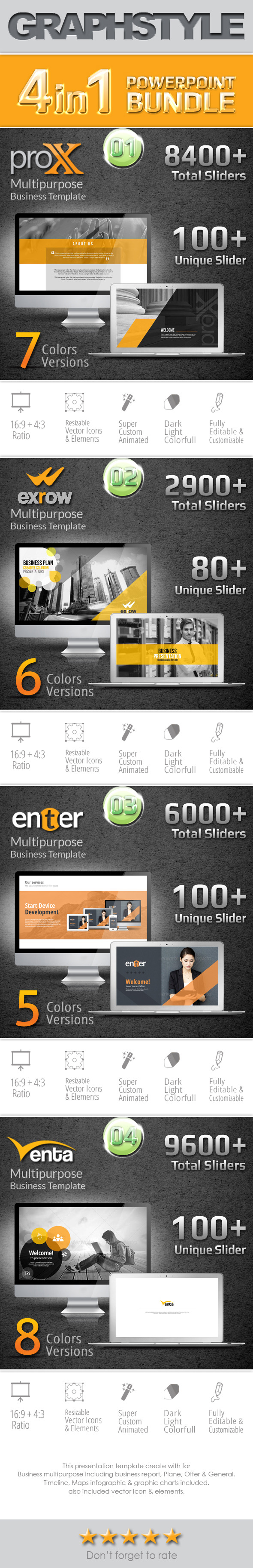GraphicRiver 4 in 1 Business PowerPoint Bundle 10356358